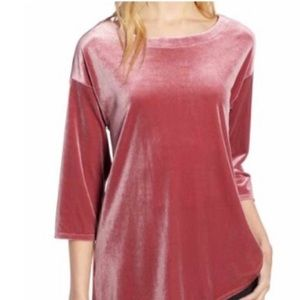Halogen Asymmetrical Velvet Top In Dusty Mauve XS